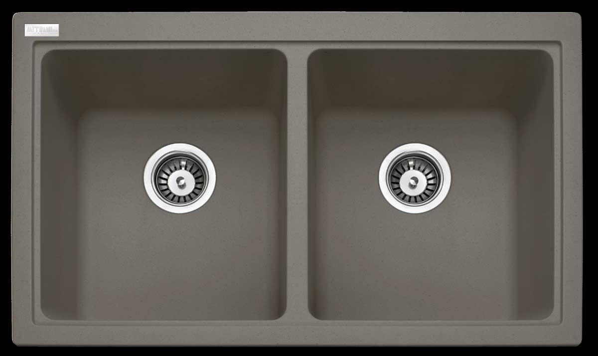 Superbe Mitrani Granite Metal Sink Glory Flushmount / Undermount Double Bowl Sink