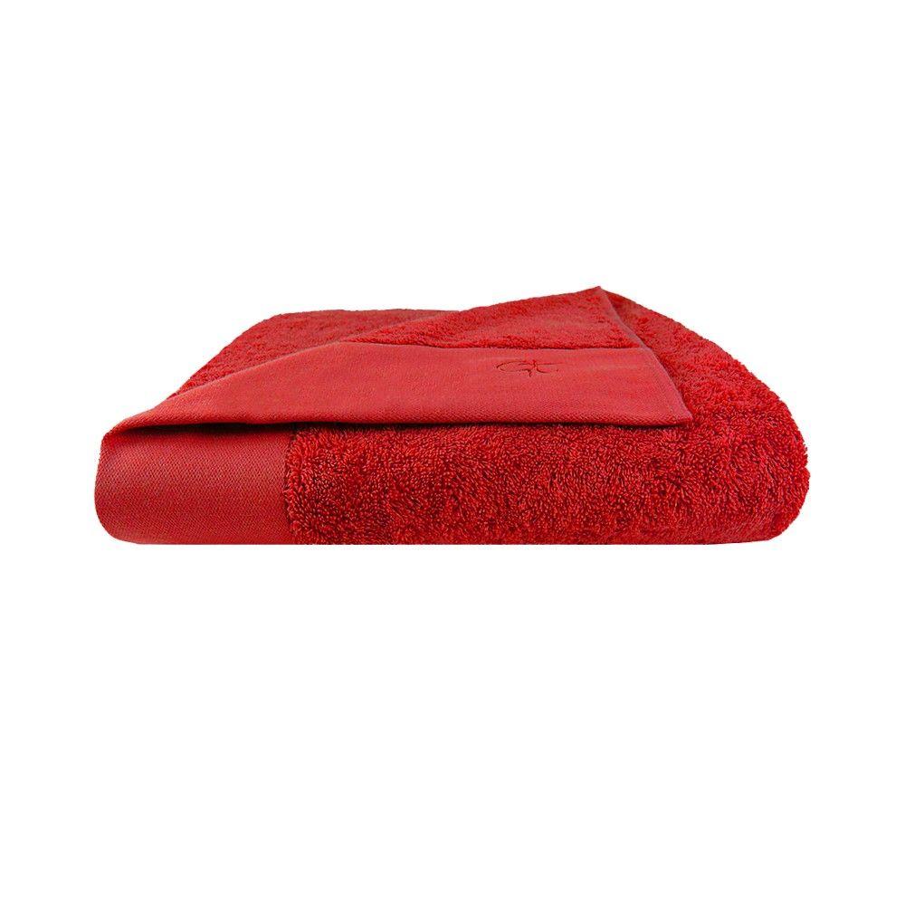 Drap de bain ambiance chalet Garnier-Thiebaut - Modèle : Dolce - Drap de bain en coton 600 gr/m2 - Coloris : cerise