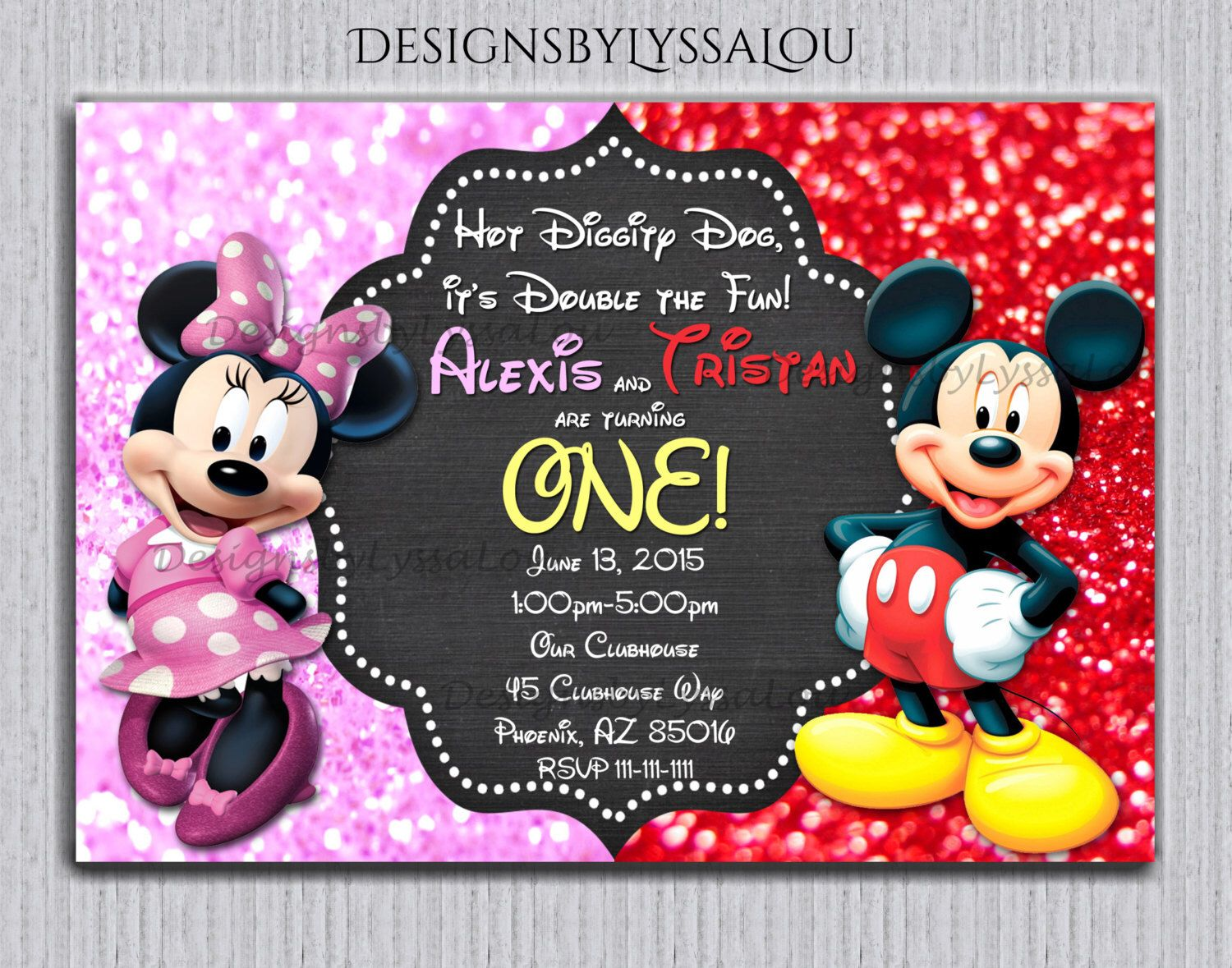 Mickey and Minnie Twin Birthday Invitation, Twin Invitation ...
