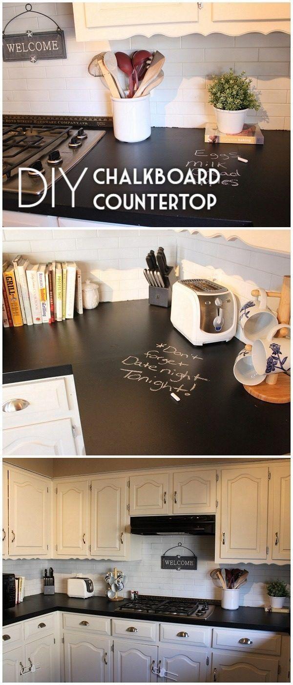 20 Easy Countertop DIY Tutorials To Revamp Your Kitchen | Diy Chalkboard,  Countertop And Chalkboards