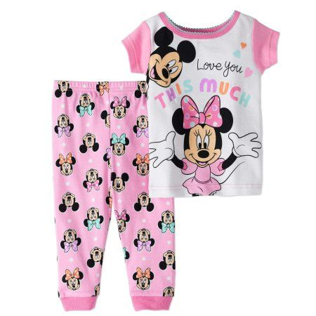 NEW NWT Girls Size 18 Months Disney Minnie Mickey Mouse Sleep Pjs Snug Fitting