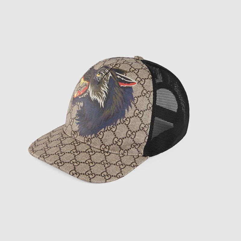 Gucci GG Supreme wolf baseball hat Detail 2  f57165f9c094