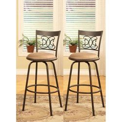 Great Bronze Finish Scroll Back Adjustable Metal Swivel Counter Height Bar Stools  (Set Of 2)