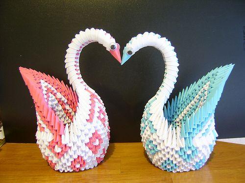 3d Folded Paper Art Swans Randoms Pinterest Origami 3d