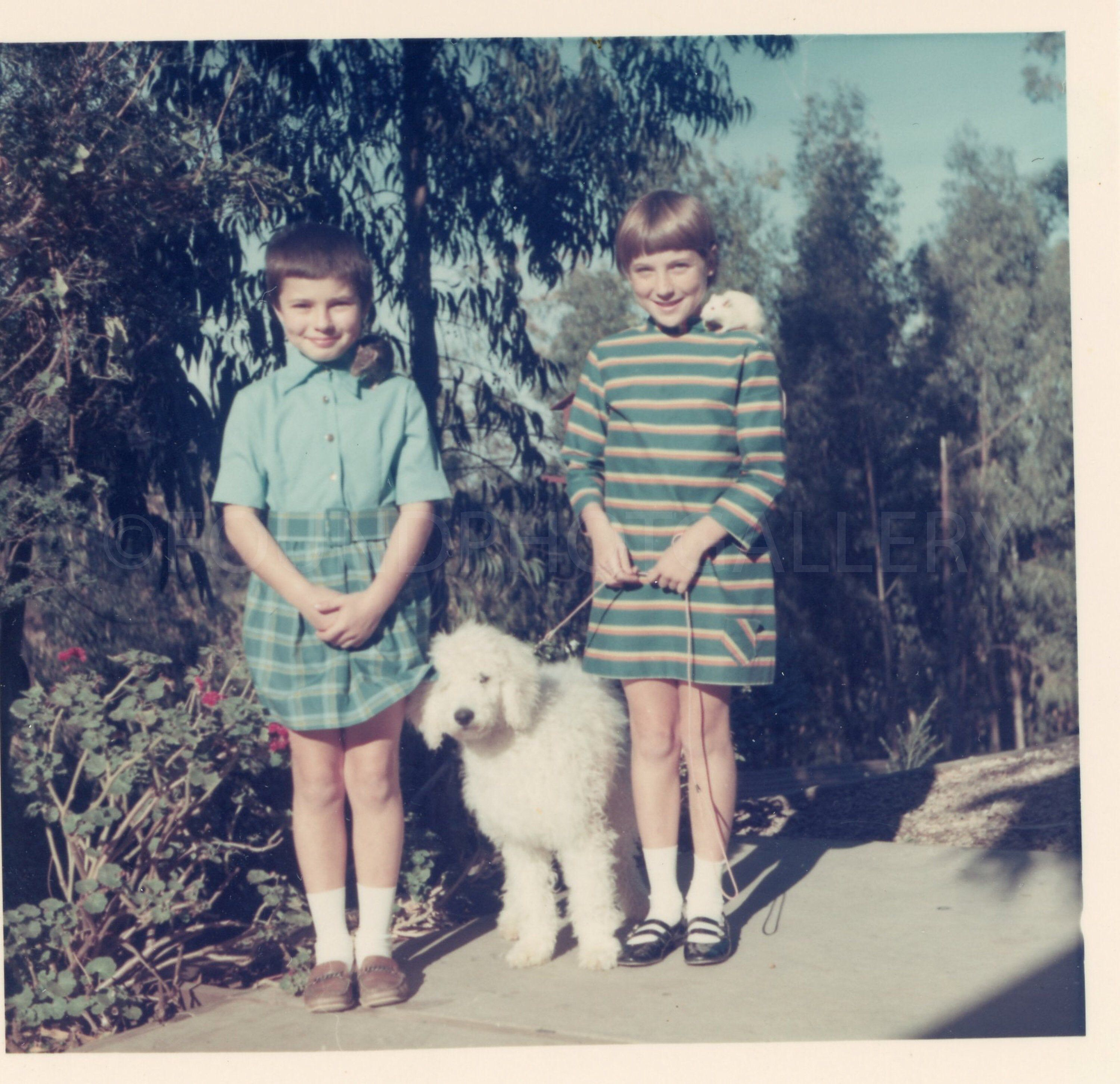 Excited to share this item from my #etsy shop: Fashion Forward Sisters With Pet Rats on Shoulders Holding Big Fluffy White Dog, Vintage Photo, Color Snapshot, Vernacular, Found Photo #art #photography #blue #green #midcentury #animal