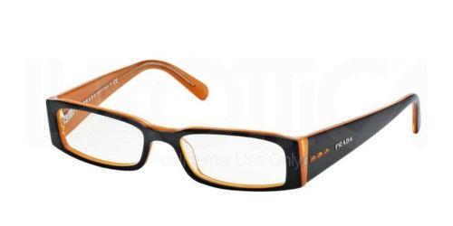 d7eeea645fdd Prada PR 10FV Eyeglasses Styles - Top Black On Orange Frame w Non-Rx 53 mm  Diameter Lenses