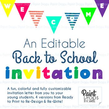 A Colorful  Editable Back To School Invitation Letter From The
