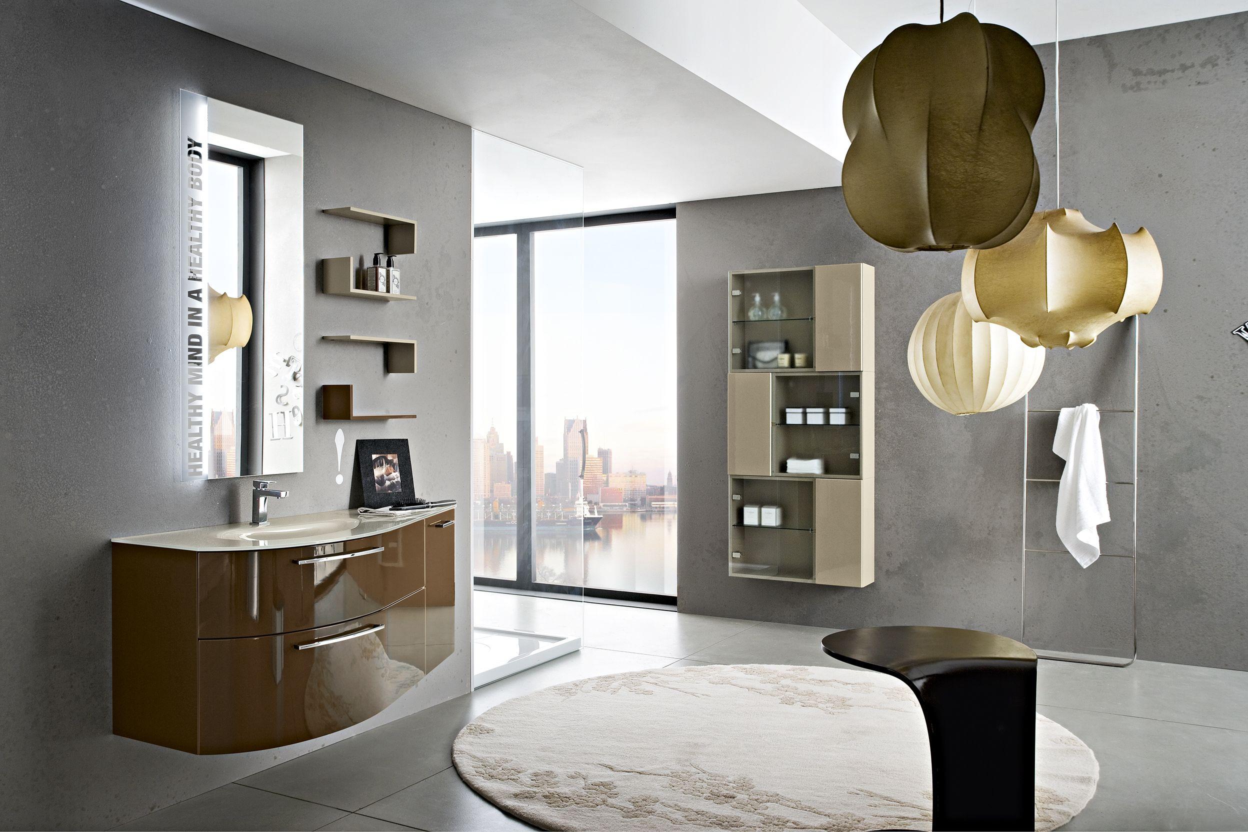 Bagno play con finitura laccato lucido marrone bl 6 http for Arredo bagno cinisello balsamo