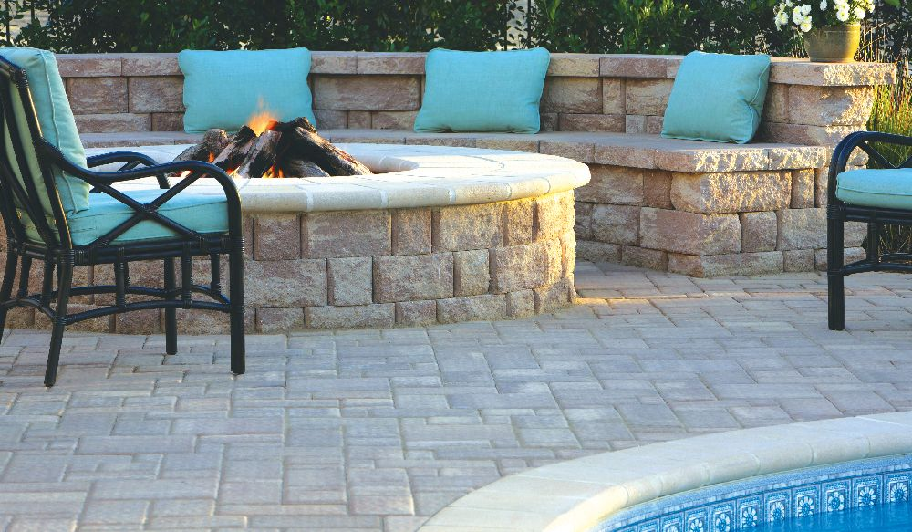 james river firepit in highland stone and james river patio ideas pinterest. Black Bedroom Furniture Sets. Home Design Ideas