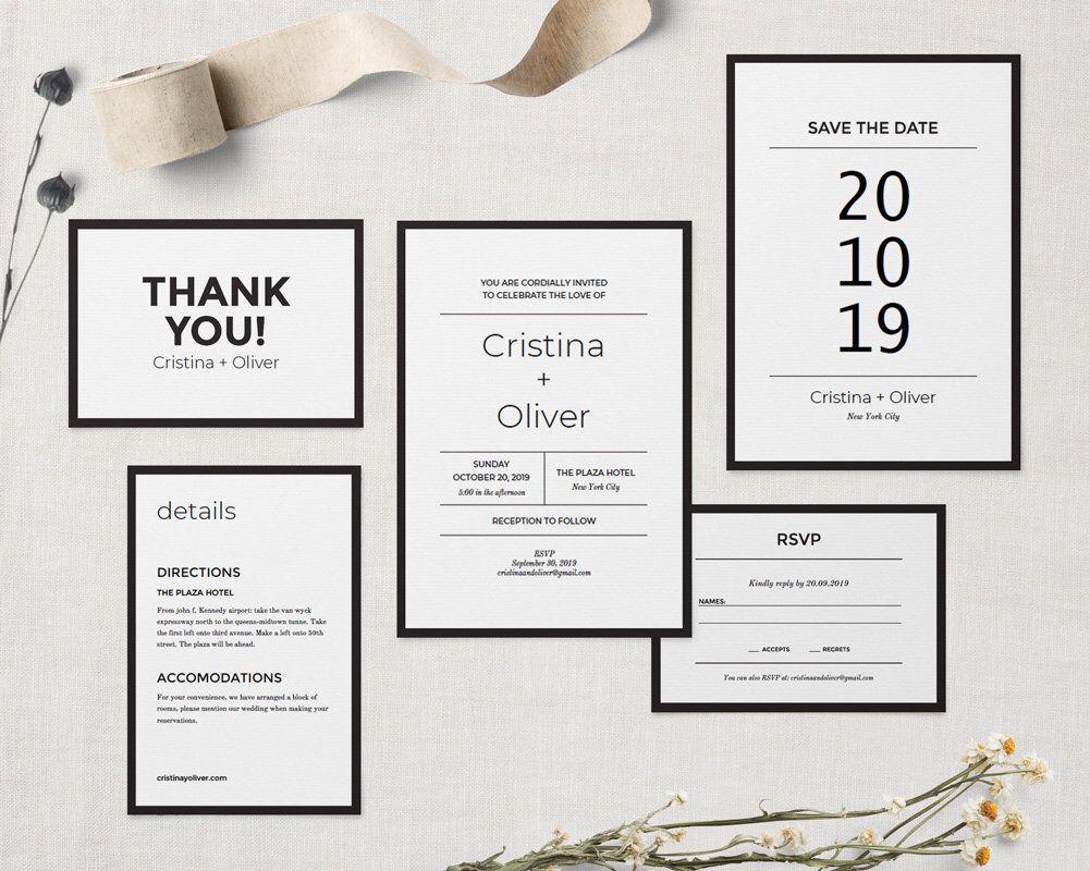 Modern wedding invitation template PRINTABLE, Diy wedding invite set ...
