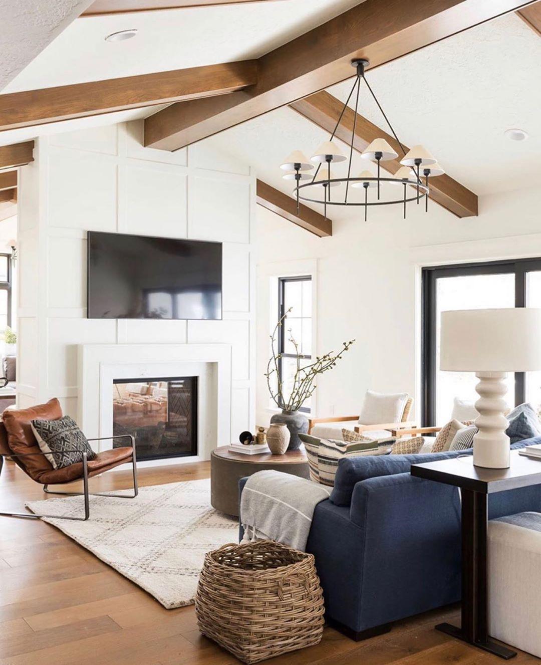 16 5k Likes 139 Comments Studio Mcgee Studiomcgee On Instagram Love When Spaces Speak Beams Living Room High Ceiling Living Room Wood Beams Living Room [ 1327 x 1080 Pixel ]