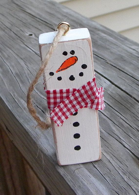 Snowman Ornament Repurposed Jenga Block Rustic by EmbellishCraft
