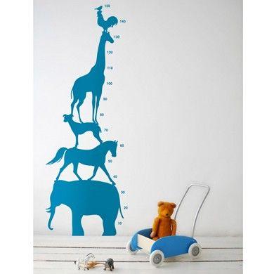 Blue Animal Tower wallsticker/measurement chart for children by Ferm Living