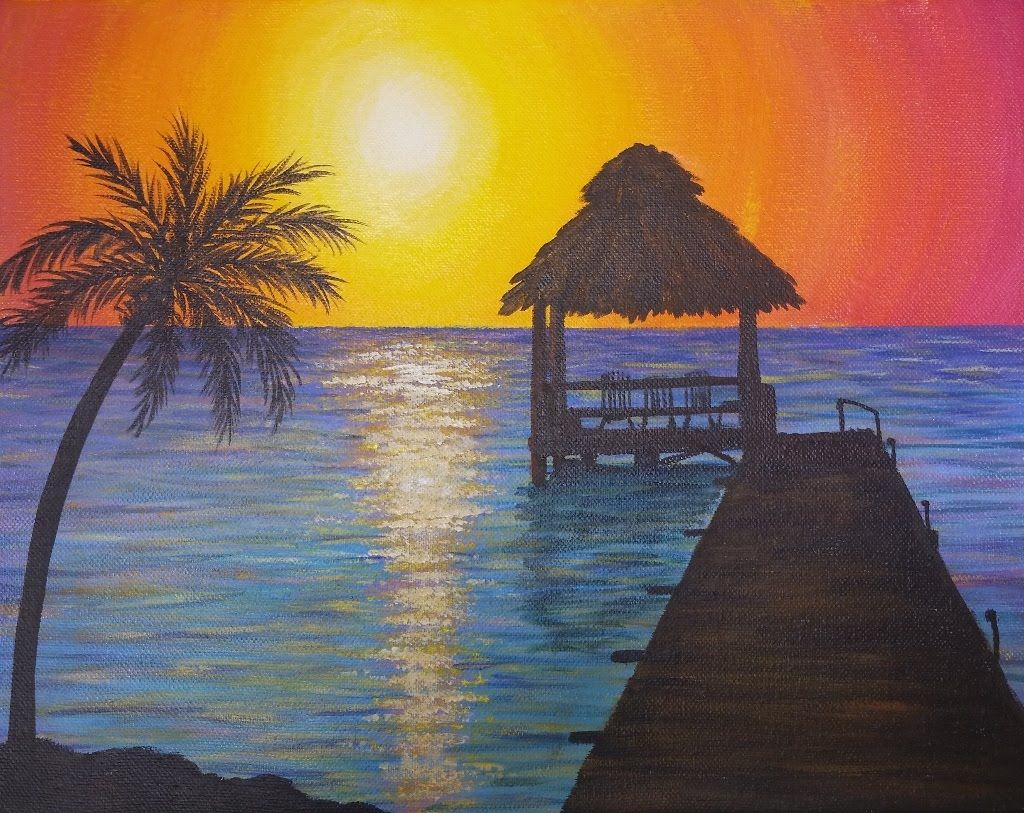 Easy sunset ocean seascape acrylic painting tutorial for How to paint on a canvas for beginners