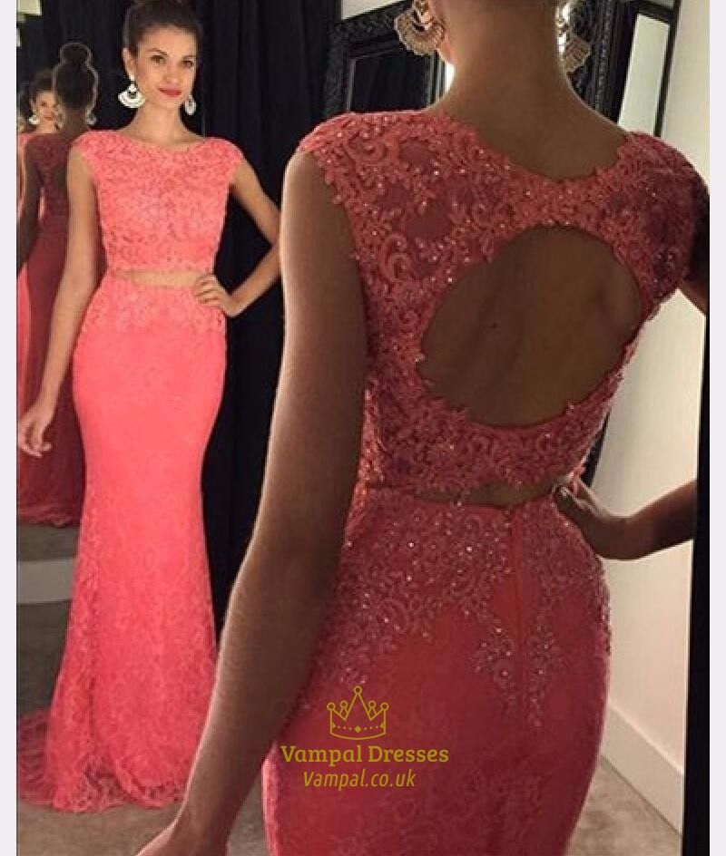Coral Cap Sleeve Beaded Backless Lace Mermaid Long Evening Gown ...