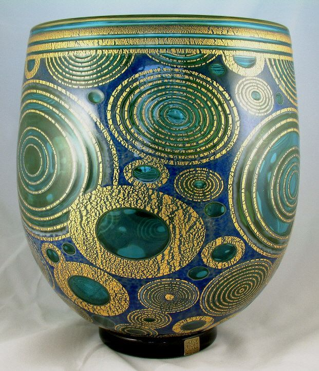 THG331 Copper Blue Rings - Isle of WIght Art Glass