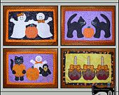 PDF Pattern for Halloween Mug Rug Bundle - Vol 1, Halloween Pattern Bundle, Mug Rug Pattern, Halloween Applique Templates - Tutorial, DIY