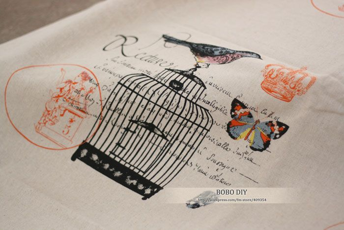 Cotton Linen Fabrics,Bird cage butterfly crown,150cm*70cm,perfect for diy,curtains, tablecloth,bedding,bag,freeshipping,B2018376 US $18.90