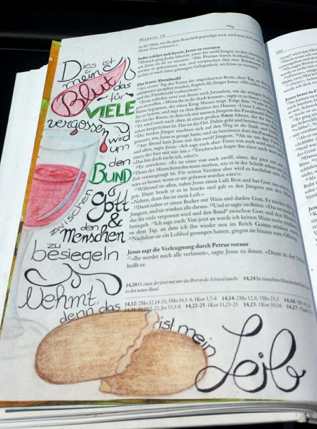 Bible Art Journaling Deutsch Mark 14 The Last Supper