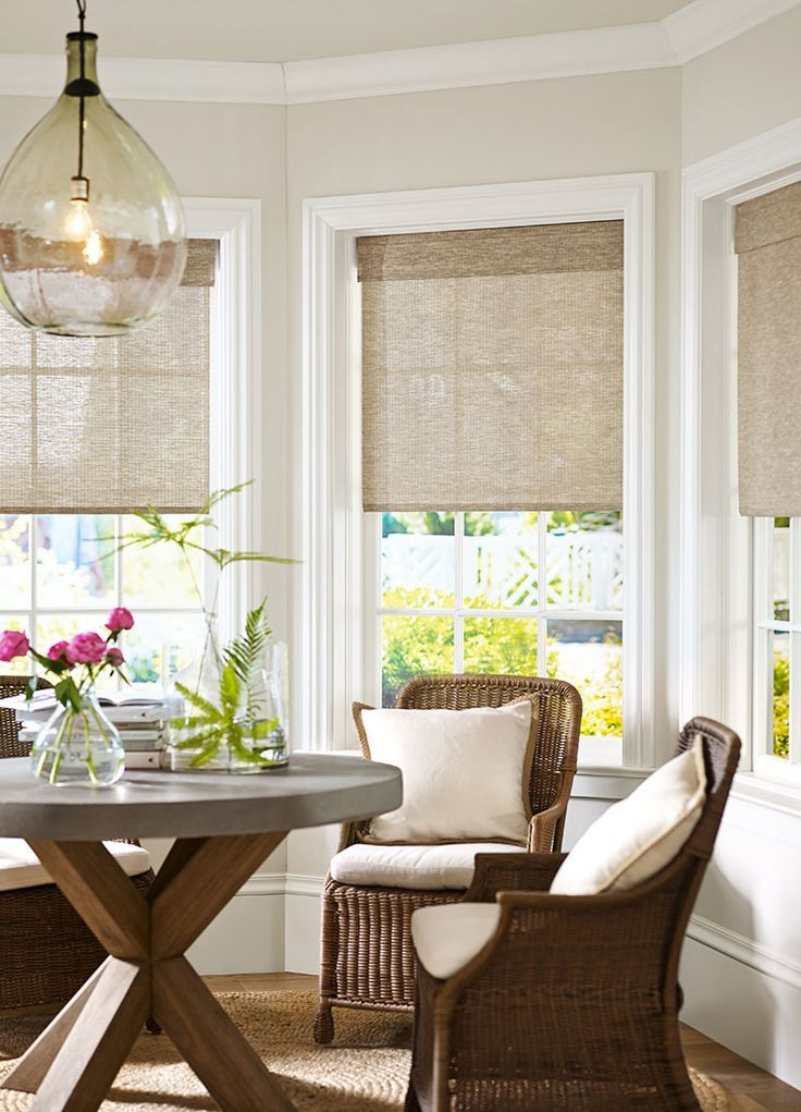 Hamptons Style Ivory Brown Living Room Windows Kitchen Bay Window Farmhouse Window Treatments