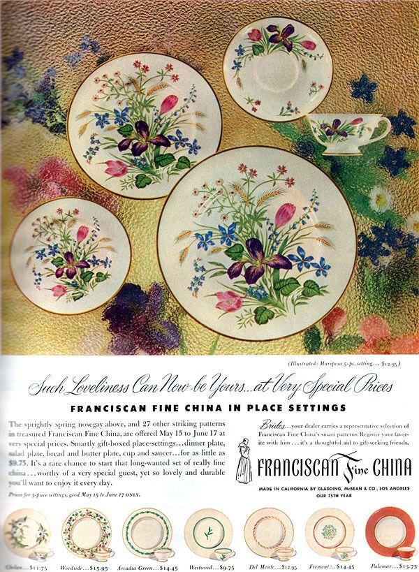 Franciscan Mariposa Ad Franciscan Dinnerware Advertisements
