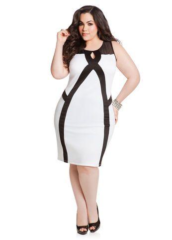 f5630ef548c Mesh Top Colorblock Scuba Dress-ASHLEY STEWART  PLUSSIZE CLEARANCE  DEALS