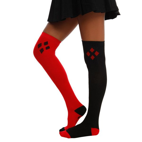 DC Comics Harley Quinn Over-The-Knee Socks Hot Topic ($9.50) ❤ liked on Polyvore featuring intimates, hosiery, socks, above knee socks, overknee socks, over the knee hosiery, over-the-knee socks and red and black socks