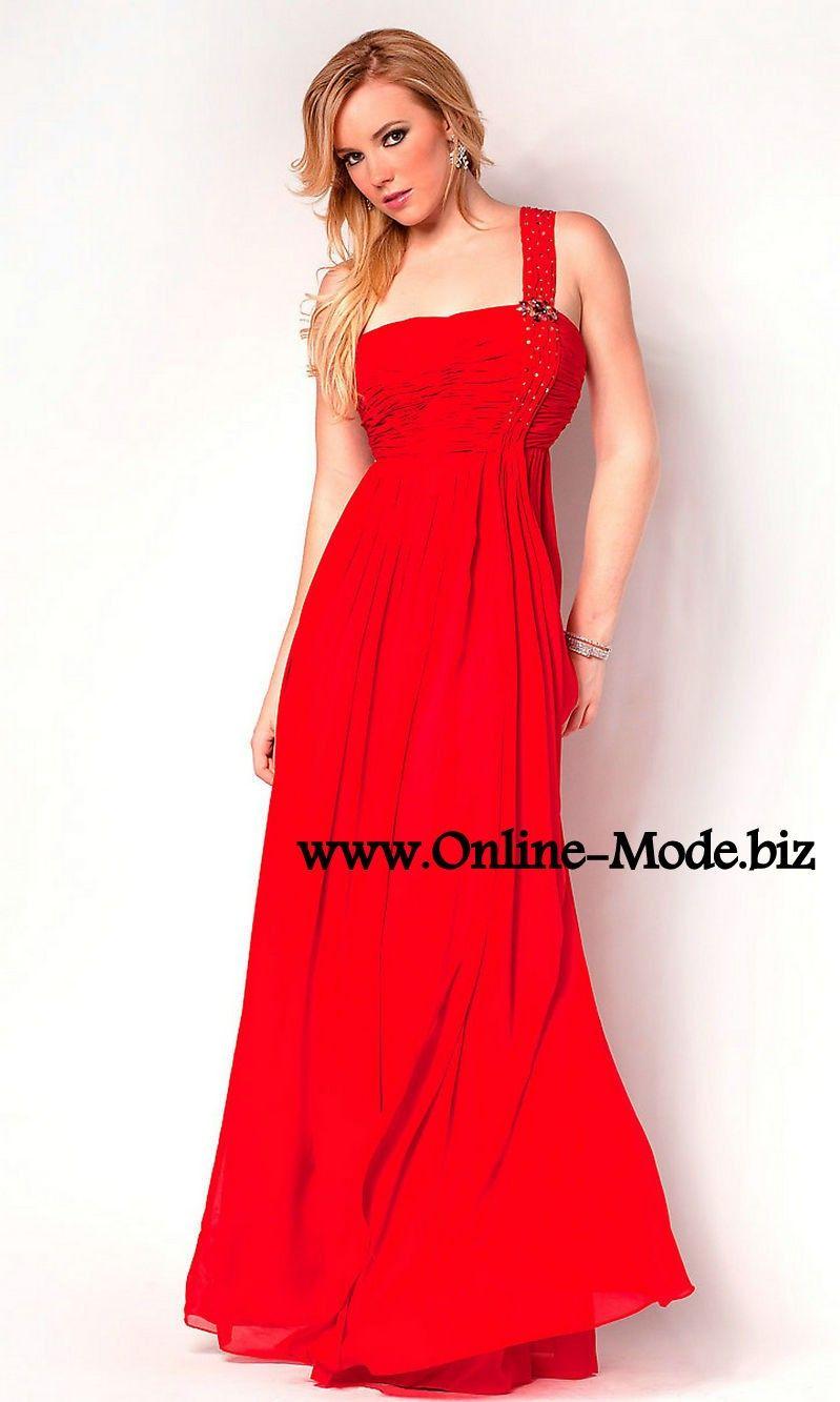 One Shoulder Träger Empire Abendkleid in Rot | Rote Kleider online ...