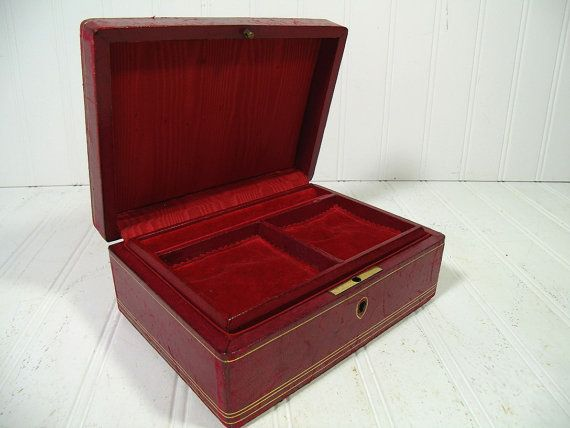 Antique Burgundy Red Leather Gold Tooling Trim Jewelry Box Made in