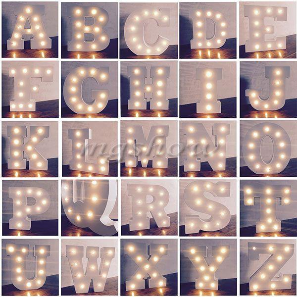 Alphabet Letter Lights Led Light Up White Wooden Letters Standing Hanging Uk