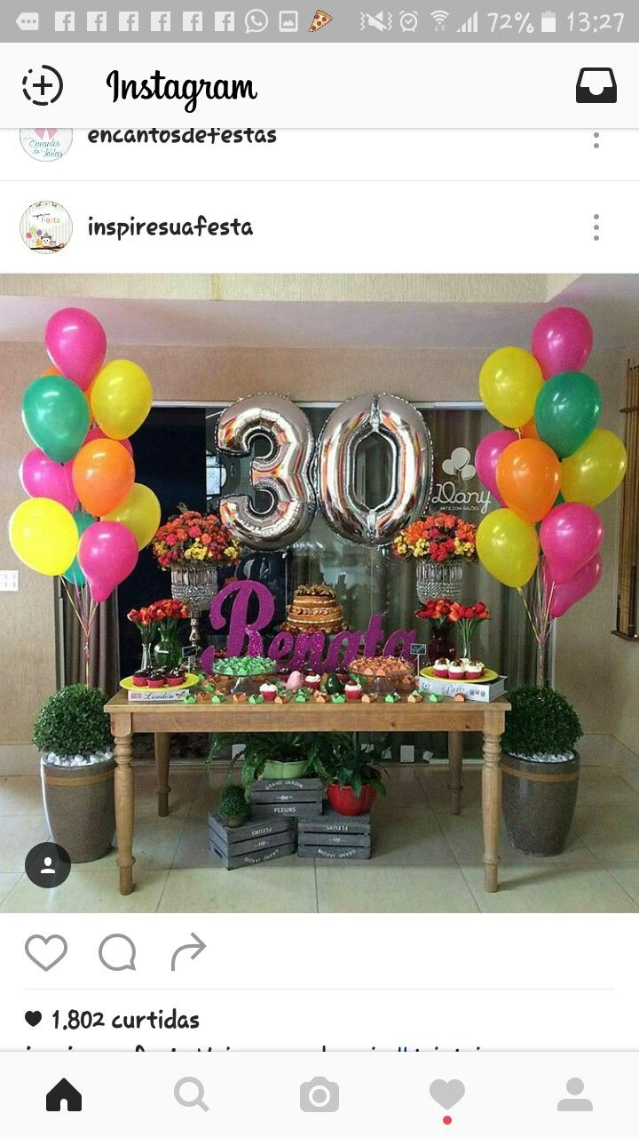 festa adulta arreglos pinterest birthday 30th birthday parties y birthday party decorations. Black Bedroom Furniture Sets. Home Design Ideas