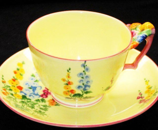 Crown Staffordshire Flower-Handle HOLLYHOCKS Tea cup and saucer #teacups