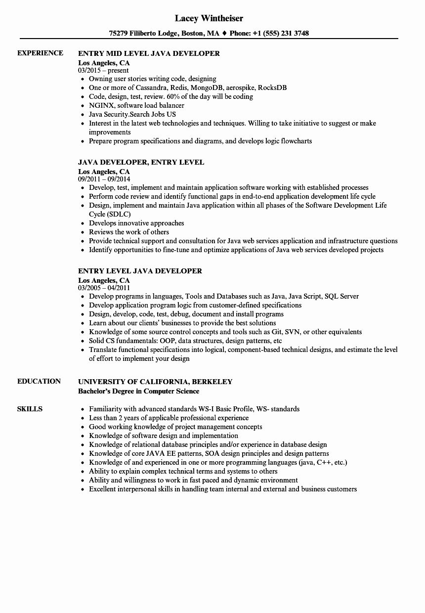 Computer Science Resume Entry Level Fresh Entry Level Java Developer Resume Samples