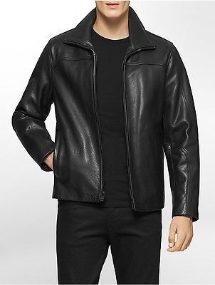 a251874c8 Calvin Klein Mens Wing Collar Leather Jacket | Men's Outerwear in ...