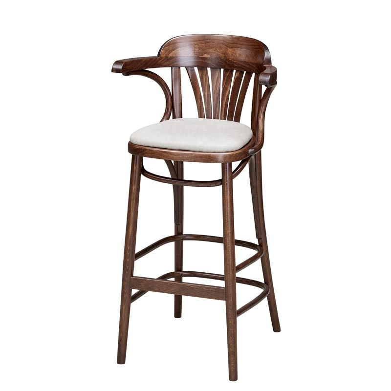 Fan Back Bentwood Bar Stool With Arms Upholstered Andy