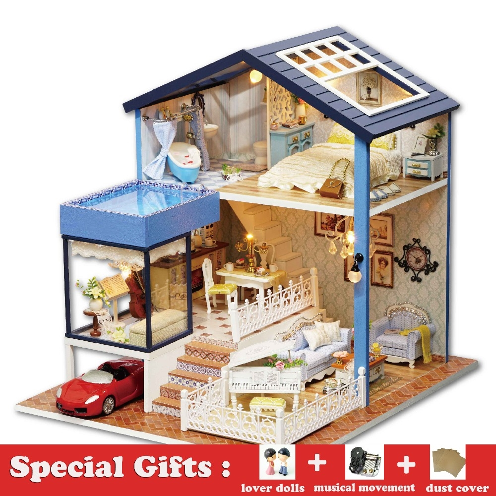 57.20$  Buy now - DIY Miniature Wooden Dollhouse SEATTLE Villa Cute Room with Dust Cover Big Doll House Toy Girl Birthday Gift Christmas Present    #aliexpresschina