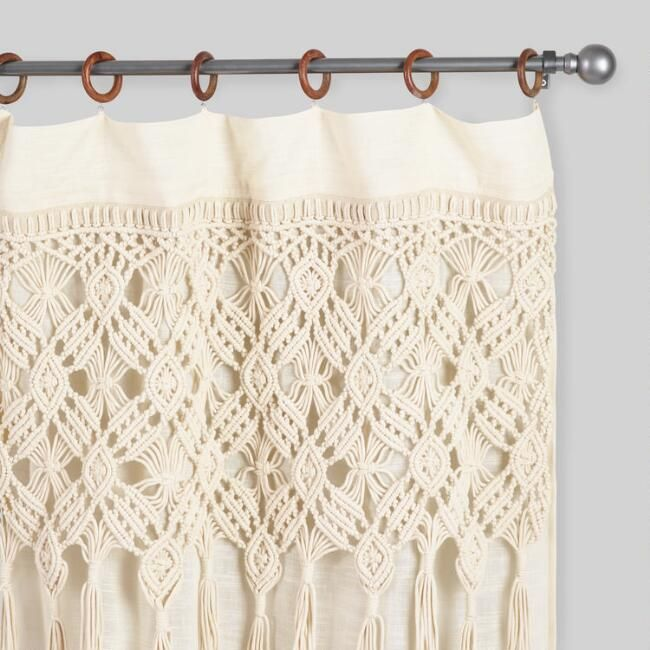 Macrame Curtains With Removable Wood Rings Set Of 2 Macrame Curtain Eclectic Curtains Fabric Blinds