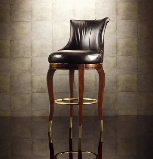 Bob Mackie Leather Barstool From American Drew Furniture