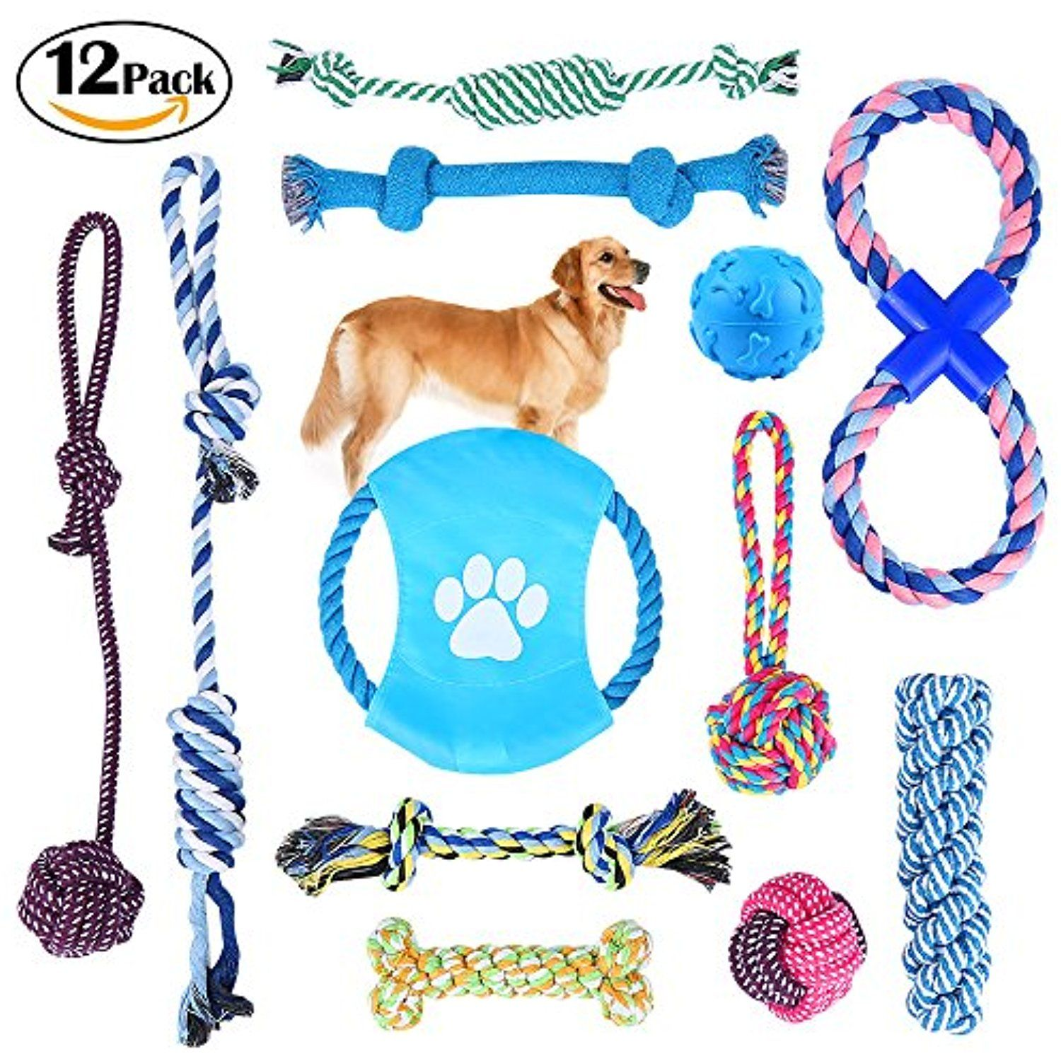 Dog Rope Toys Puppy Chew Toys Set Of 12 Honfei Dog Cotton Rope