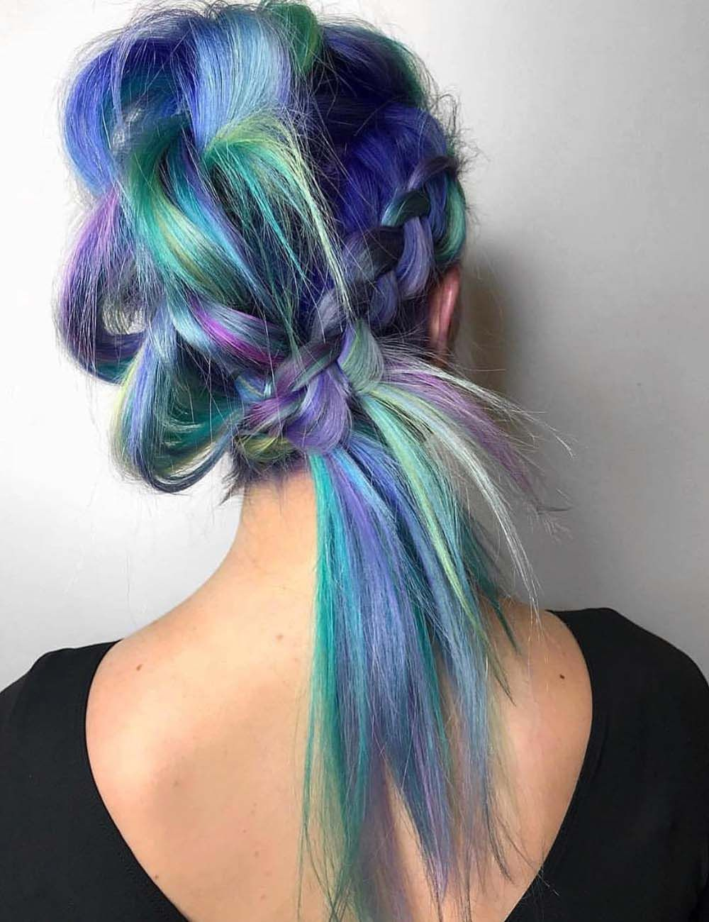 Amazing Watercolor Hairs With Side Braids Hair Styles Fox Hair