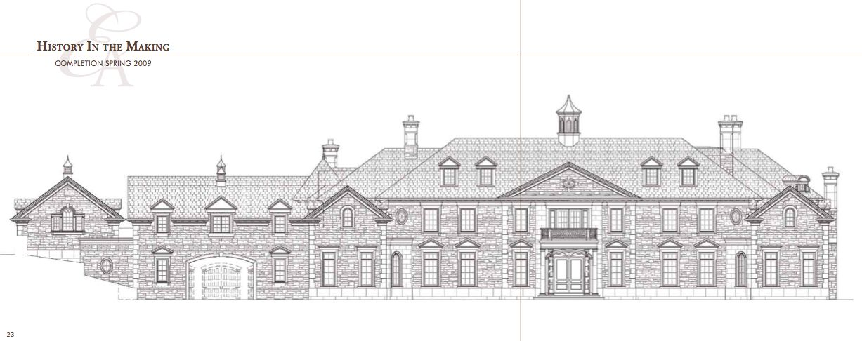 Technical Drawing Of The Front Elevation Of 1 Frick Drive Stone Mansion Mansion Floor Plan Mansions