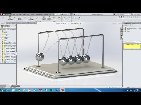 SolidWorks Motion Simulation tutorial - Newton's Cradle