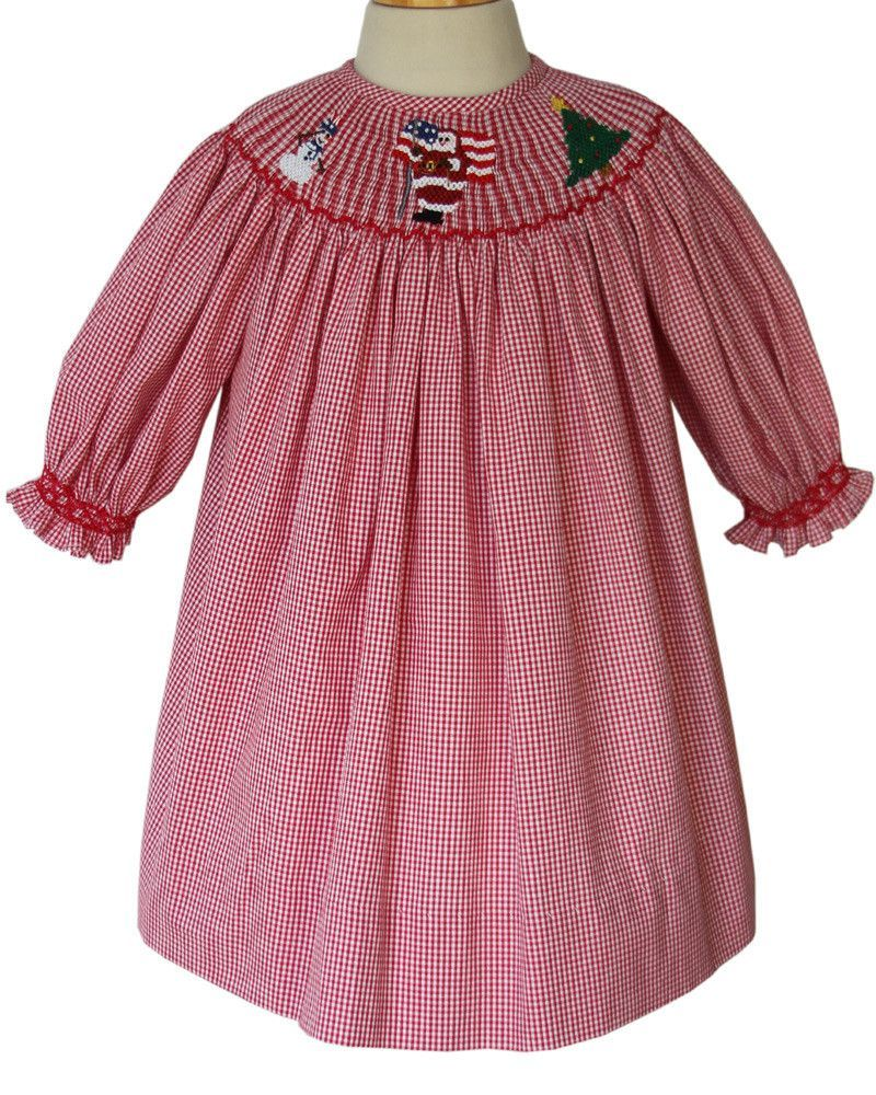 31b79eef7 Girls Red Christmas Santa Bishop Dress Long-Sleeved