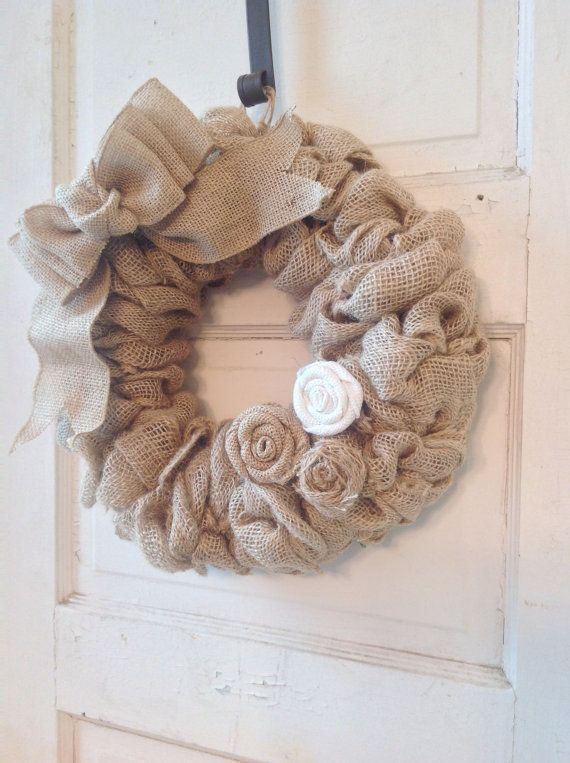 Burlap Wreath-Burlap Bow-Burlap Flowers-Burlap Home Decor-Front Door-Burlap-Door-Housewarming Gift-Burlap Decor-Wreath-Burlap Wreath on Etsy, $35.00: