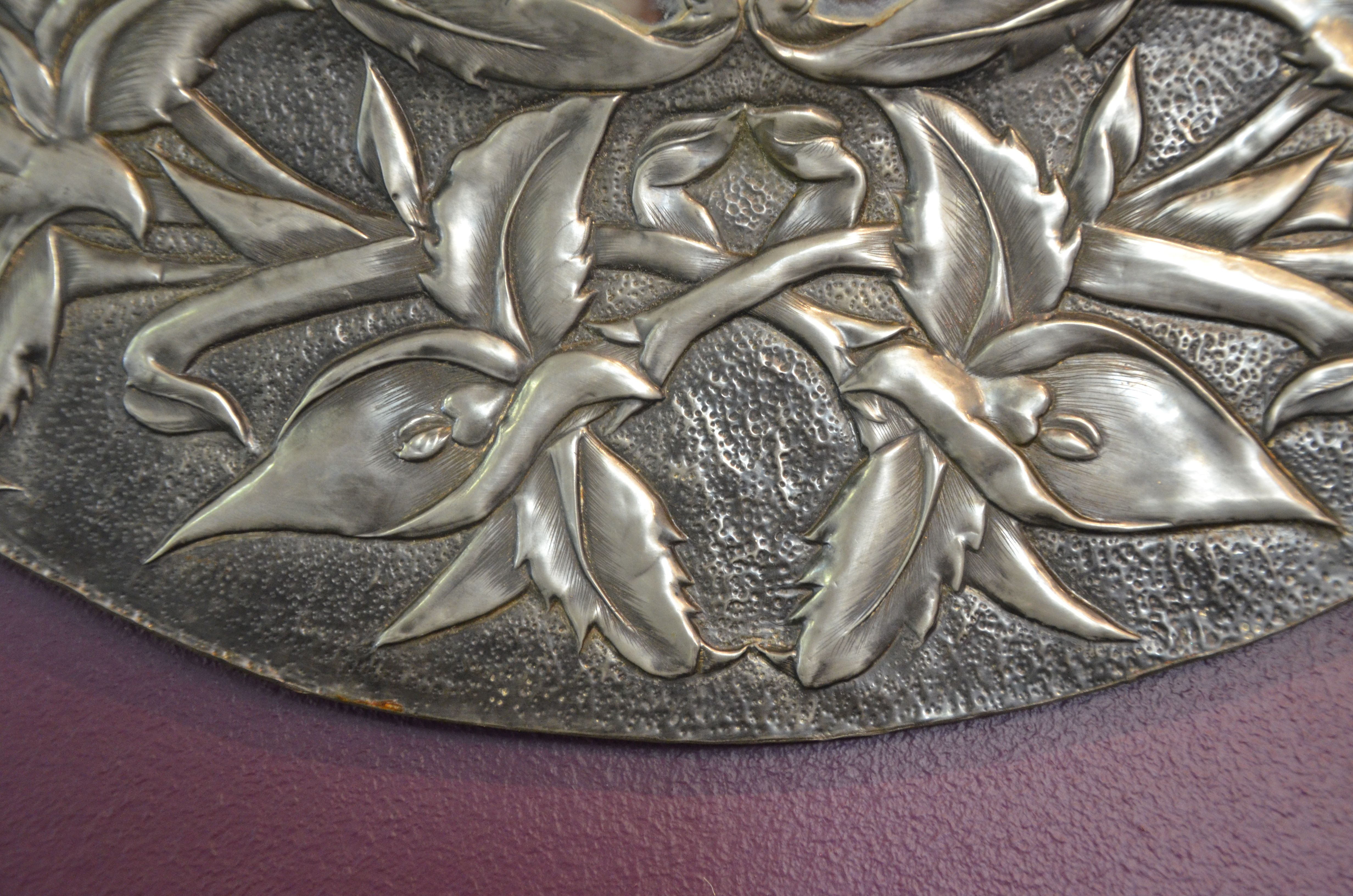 Round pewter mirror frame created by my aunt in the 1960\'s. Mary Ann ...