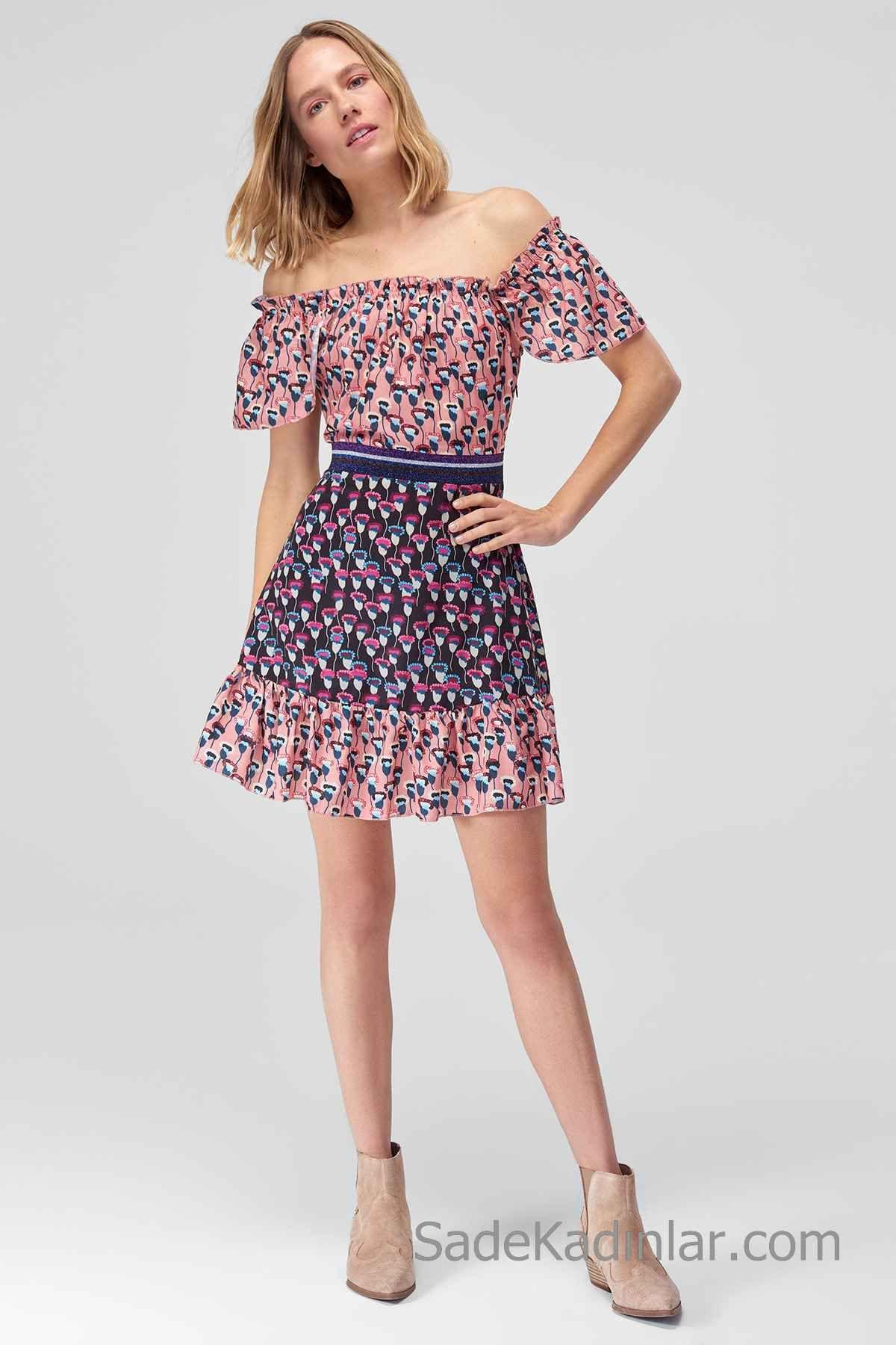 26d0d6be978df 2019 Günlük Elbise Modelleri Pembe Kısa Karmen Yaka Kısa Kollu Desenli  Ootd, Yazlık Kıyafetler,