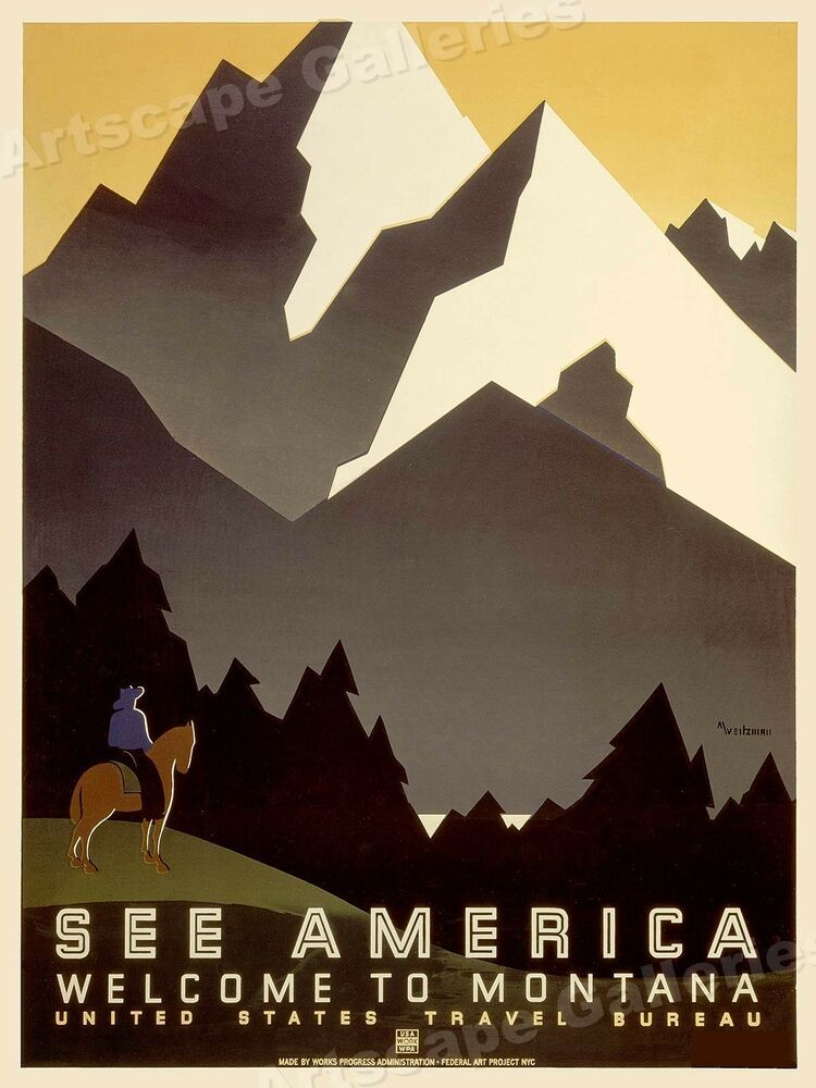 WPA Vintage Style Travel Poster 24x32 1930s Welcome to Montana