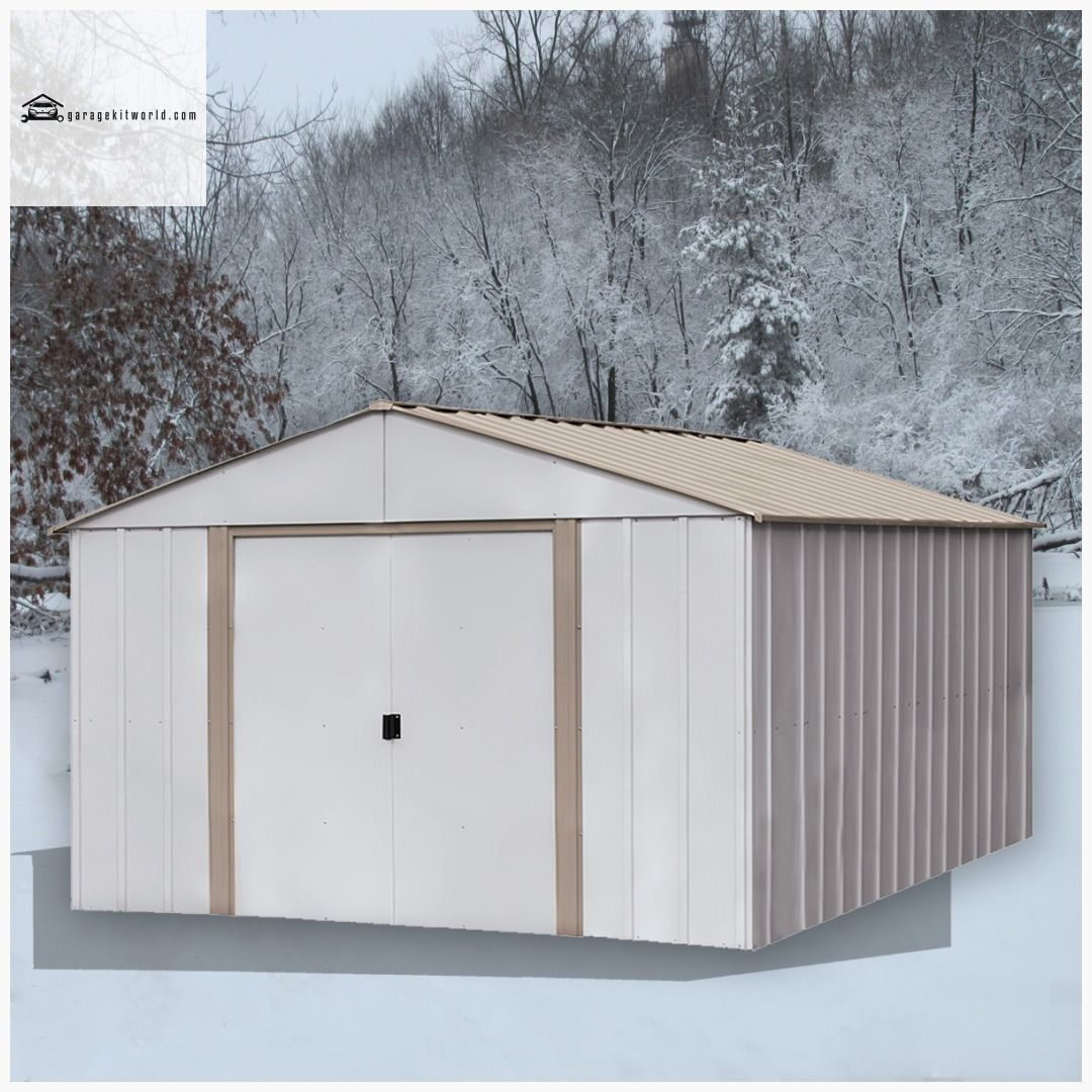 Oakbrook 10 X 14 Ft Coffee Eggshell Steel Storage Shed Steel Storage Sheds Carport Designs Roof Design