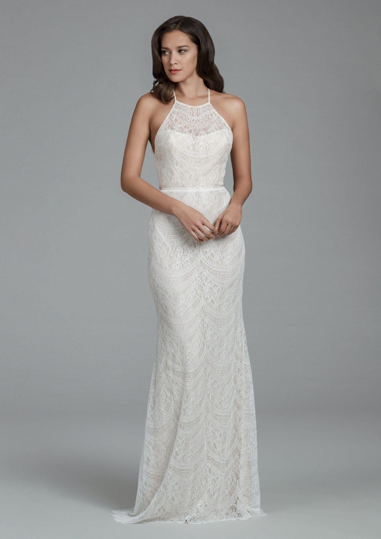 Halter style wedding dresses  Halter neckline lace sheath wedding dress  Tara Keely  Style
