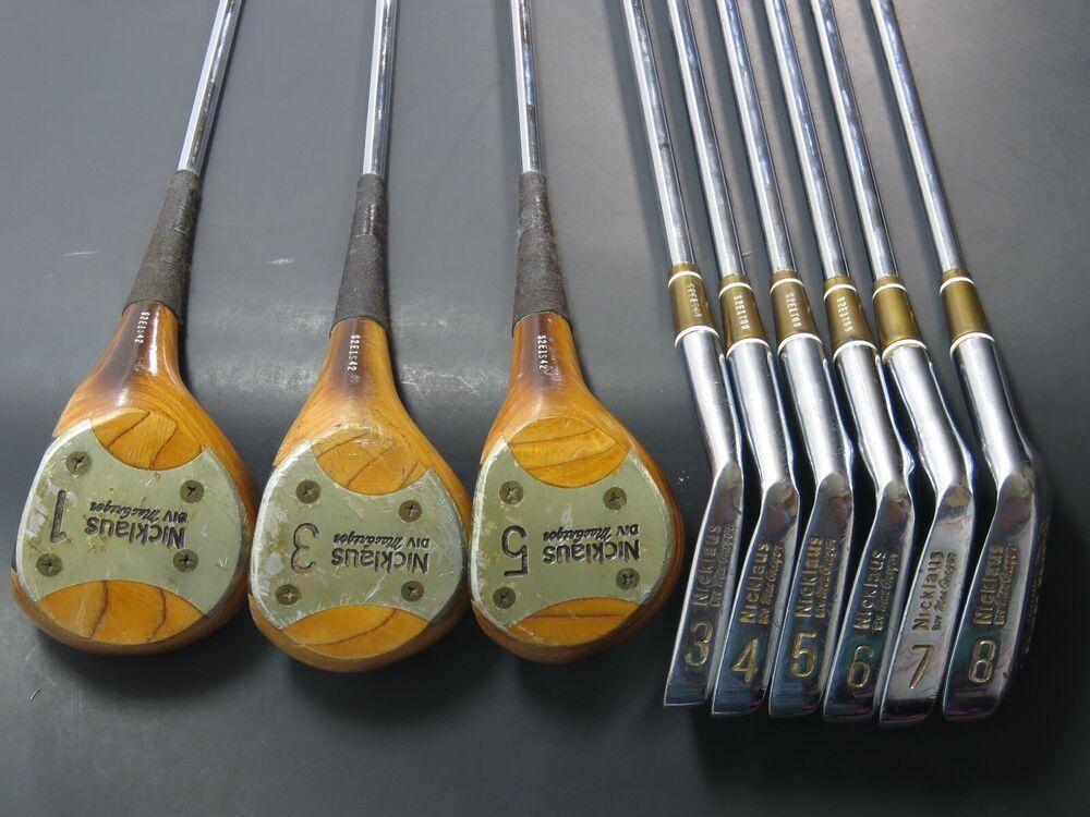 Vintage Mcgregor Niklaus Golden Bear Golf Clubs Irons 3 4 5 6 7 8 Woods 1 3 5 Ebay Golf Clubs Golden Bear Ebay